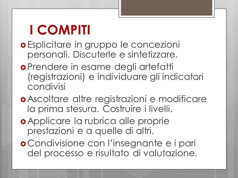 I COMPITI  Esplicitare in gruppo le concezioni personali.