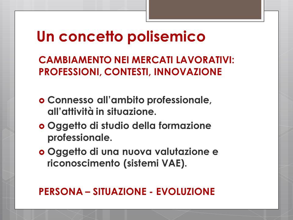 Un concetto polisemico CAMBIAMENTO NEI MERCATI LAVORATIVI: PROFESSIONI, CONTESTI, INNOVAZIONE  Connesso all'ambito professionale, all'attività in situazione.