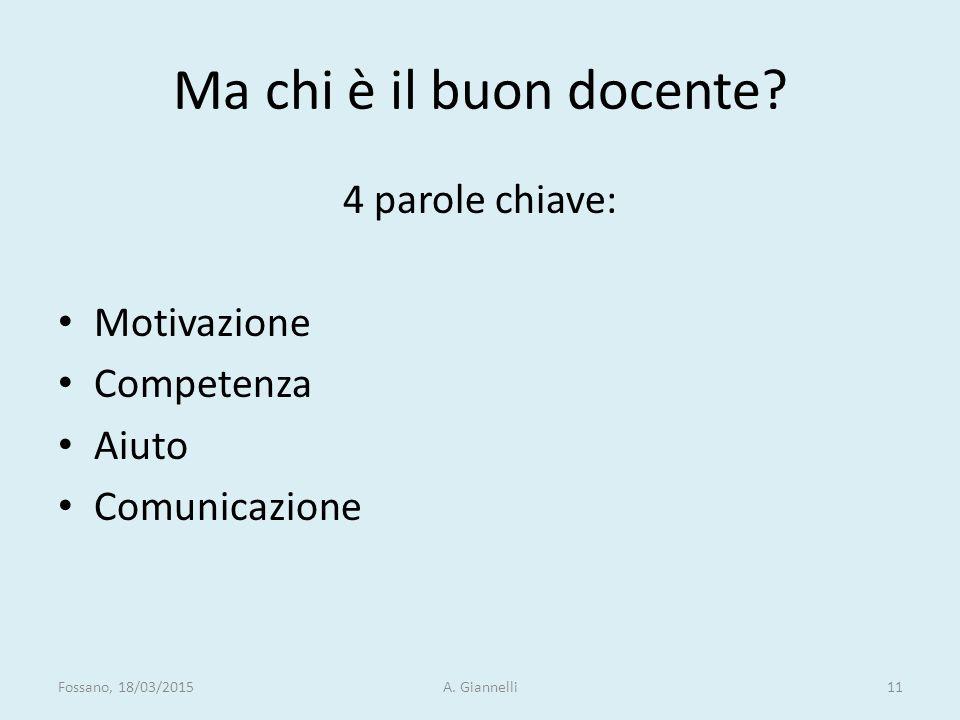 Ma chi è il buon docente? 4 parole chiave: Motivazione Competenza Aiuto Comunicazione Fossano, 18/03/2015A. Giannelli11