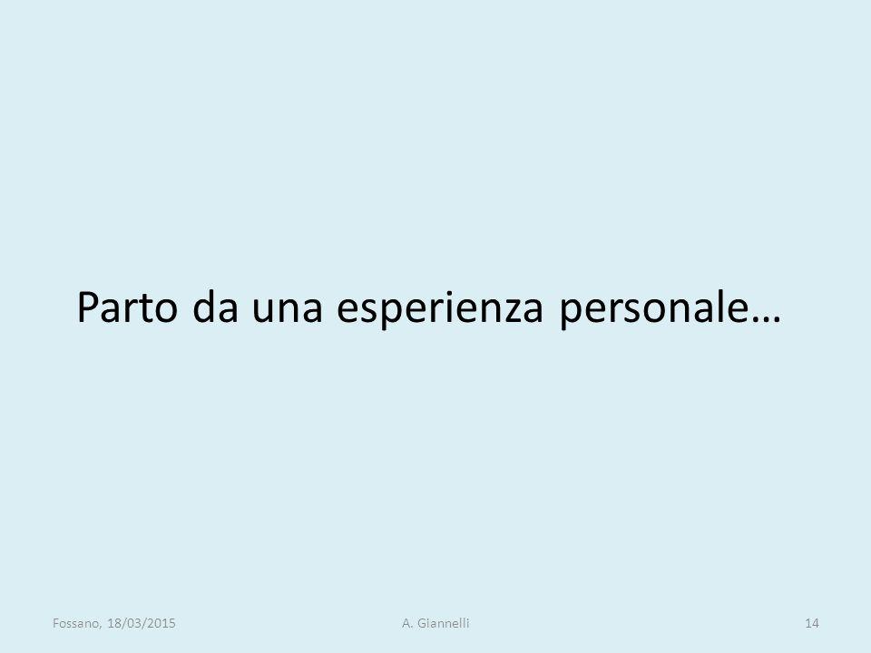 Parto da una esperienza personale… Fossano, 18/03/2015A. Giannelli14