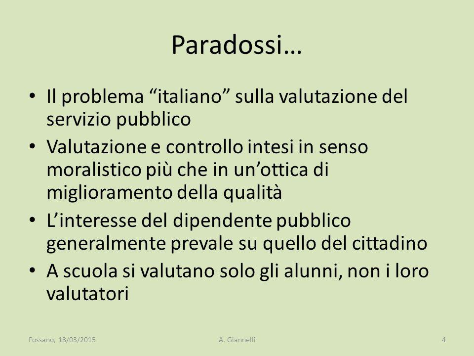 """Paradossi… Il problema """"italiano"""" sulla valutazione del servizio pubblico Valutazione e controllo intesi in senso moralistico più che in un'ottica di"""