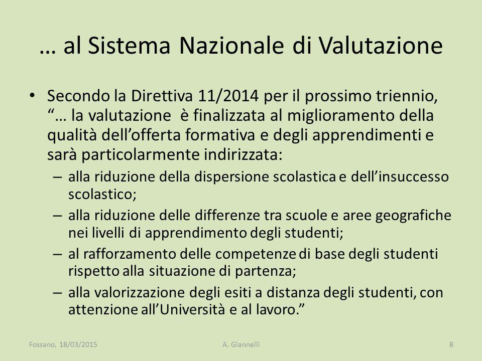 """… al Sistema Nazionale di Valutazione Secondo la Direttiva 11/2014 per il prossimo triennio, """"… la valutazione è finalizzata al miglioramento della qu"""