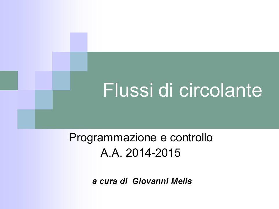 Flussi di circolante Programmazione e controllo A.A. 2014-2015 a cura di Giovanni Melis