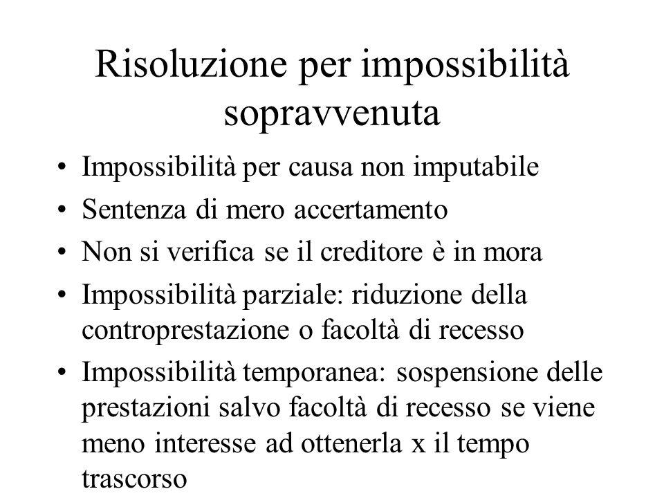 Risoluzione per impossibilità sopravvenuta Impossibilità per causa non imputabile Sentenza di mero accertamento Non si verifica se il creditore è in m