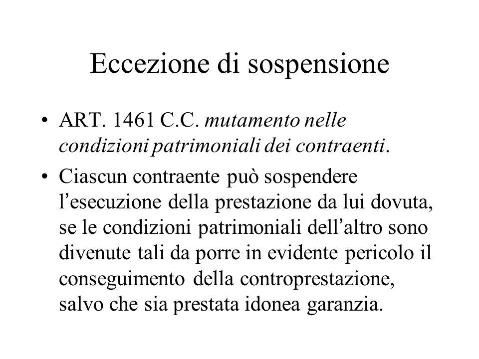 Eccezione di sospensione ART. 1461 C.C. mutamento nelle condizioni patrimoniali dei contraenti. Ciascun contraente può sospendere l'esecuzione della p