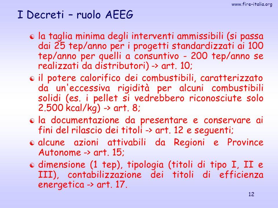 www.fire-italia.org 12 I Decreti – ruolo AEEG  la taglia minima degli interventi ammissibili (si passa dai 25 tep/anno per i progetti standardizzati