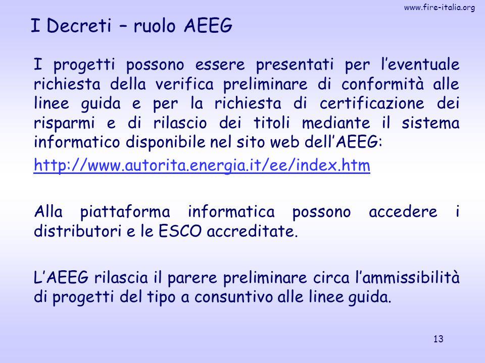 www.fire-italia.org 13 I Decreti – ruolo AEEG I progetti possono essere presentati per l'eventuale richiesta della verifica preliminare di conformità