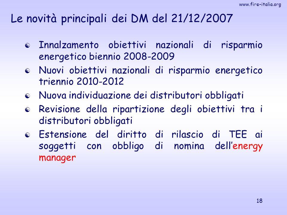 www.fire-italia.org 18 Le novità principali dei DM del 21/12/2007  Innalzamento obiettivi nazionali di risparmio energetico biennio 2008-2009  Nuovi