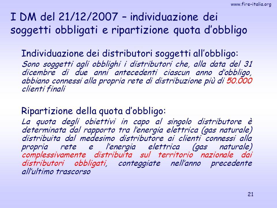 www.fire-italia.org 21 Individuazione dei distributori soggetti all'obbligo: Sono soggetti agli obblighi i distributori che, alla data del 31 dicembre