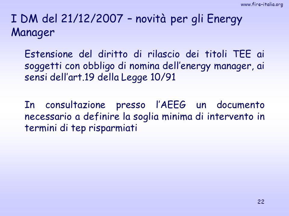 www.fire-italia.org 22 Estensione del diritto di rilascio dei titoli TEE ai soggetti con obbligo di nomina dell'energy manager, ai sensi dell'art.19 d