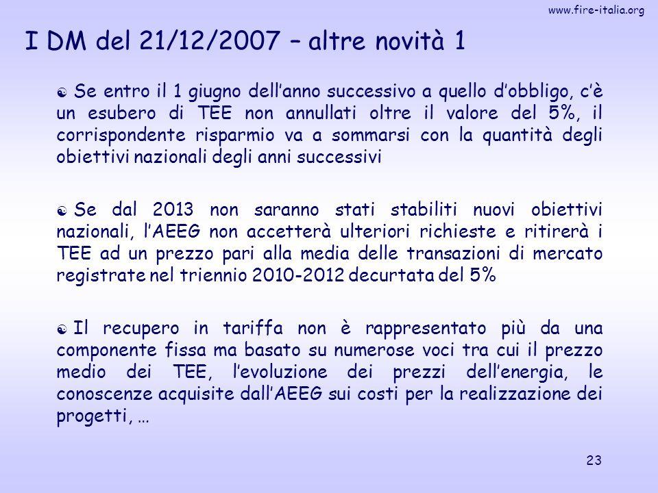 www.fire-italia.org 23  Se entro il 1 giugno dell'anno successivo a quello d'obbligo, c'è un esubero di TEE non annullati oltre il valore del 5%, il