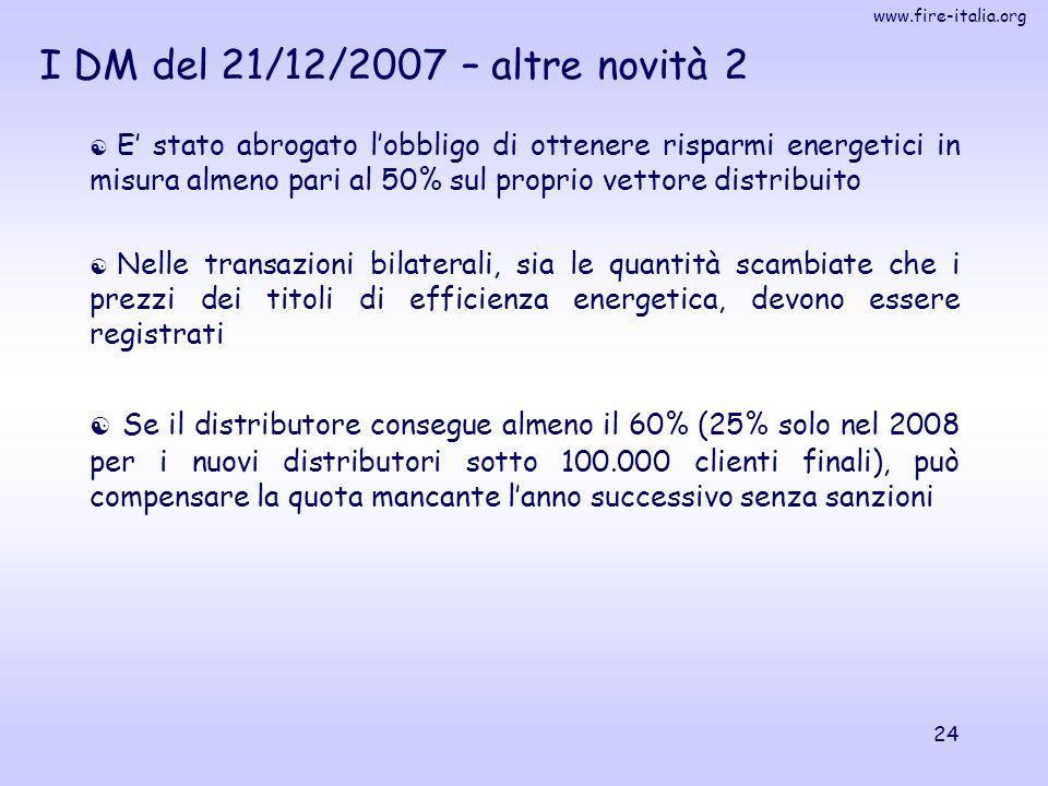 www.fire-italia.org 24  E' stato abrogato l'obbligo di ottenere risparmi energetici in misura almeno pari al 50% sul proprio vettore distribuito  Ne