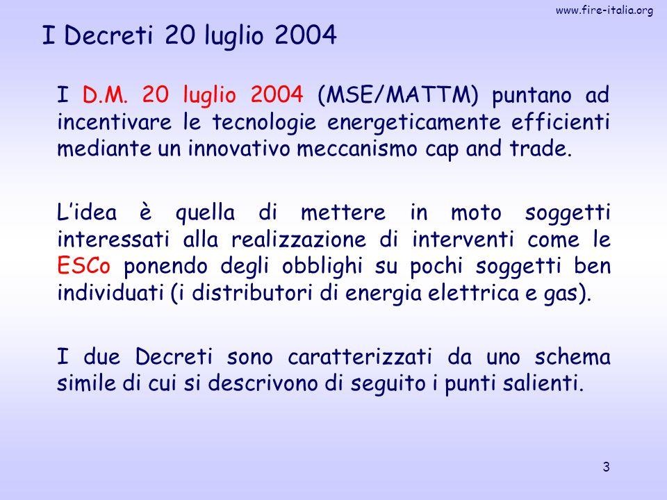 www.fire-italia.org 14 I Decreti – ruolo AEEG Finora l'Autorità ha approvato ventidue schede tecniche relative al calcolo del risparmio energetico per interventi standardizzati ed analitici (delibere 234/02, 111/04, 70/05 e 177/05).