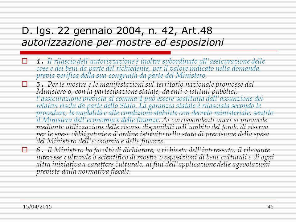 15/04/201546 D. lgs. 22 gennaio 2004, n. 42, Art.48 autorizzazione per mostre ed esposizioni  4. Il rilascio dell'autorizzazione è inoltre subordinat