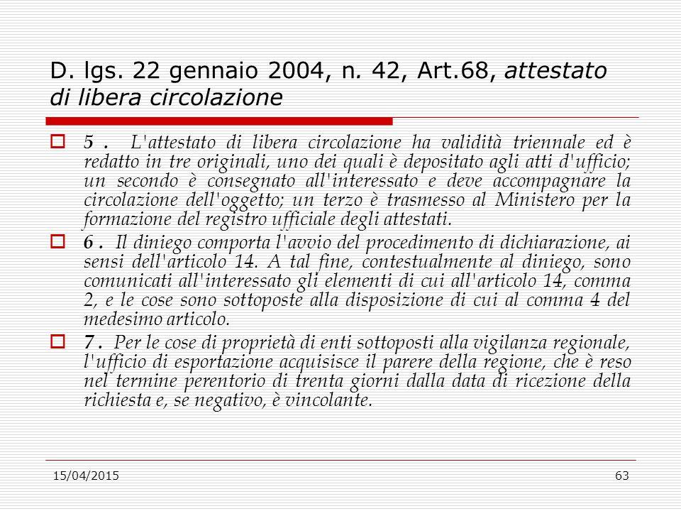 15/04/201563 D. lgs. 22 gennaio 2004, n. 42, Art.68, attestato di libera circolazione  5. L'attestato di libera circolazione ha validità triennale ed
