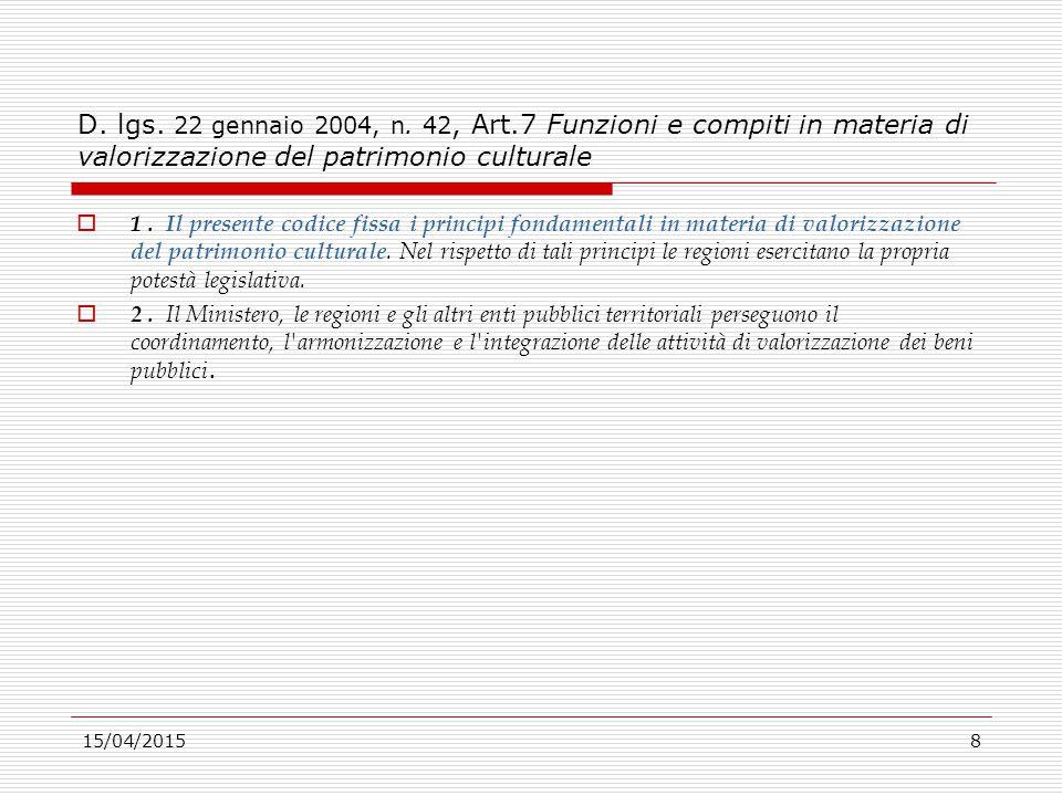 15/04/20158 D. lgs. 22 gennaio 2004, n. 42, Art.7 Funzioni e compiti in materia di valorizzazione del patrimonio culturale  1. Il presente codice fis