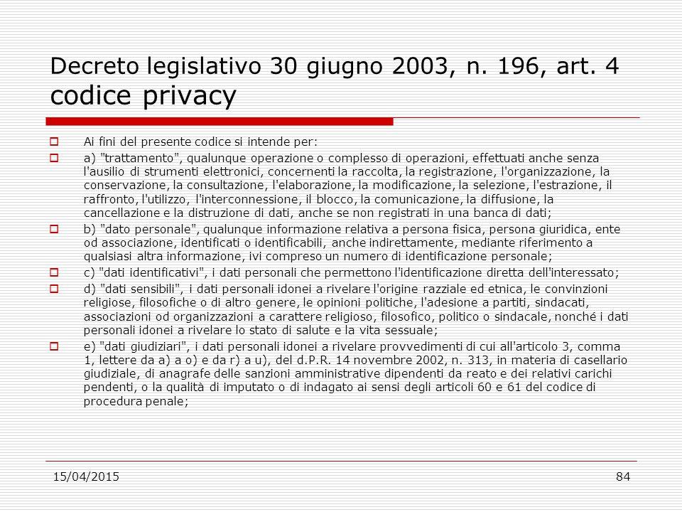 Decreto legislativo 30 giugno 2003, n. 196, art. 4 codice privacy  Ai fini del presente codice si intende per:  a)