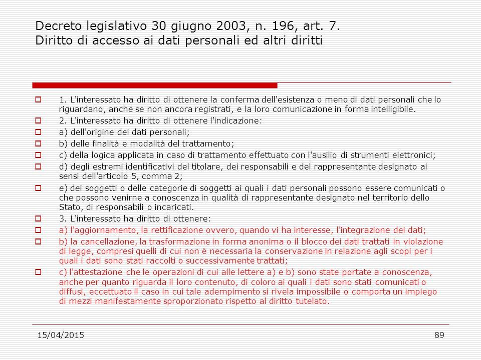 Decreto legislativo 30 giugno 2003, n. 196, art. 7. Diritto di accesso ai dati personali ed altri diritti  1. L'interessato ha diritto di ottenere la