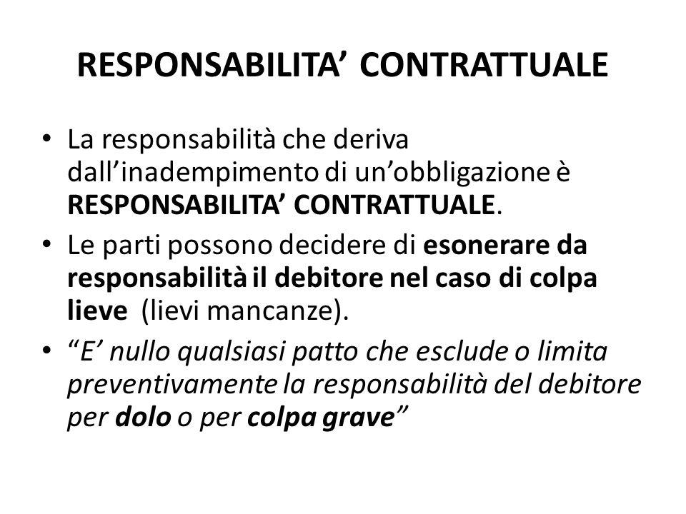 RESPONSABILITA' CONTRATTUALE La responsabilità che deriva dall'inadempimento di un'obbligazione è RESPONSABILITA' CONTRATTUALE. Le parti possono decid