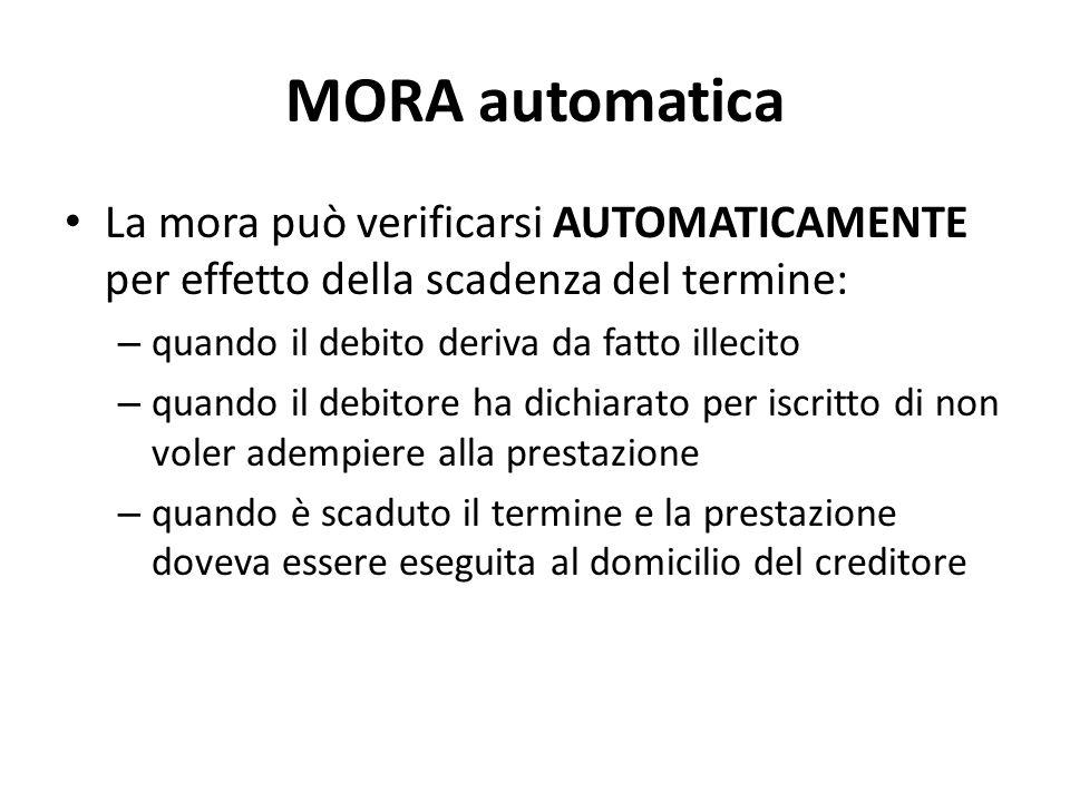 MORA automatica La mora può verificarsi AUTOMATICAMENTE per effetto della scadenza del termine: – quando il debito deriva da fatto illecito – quando i