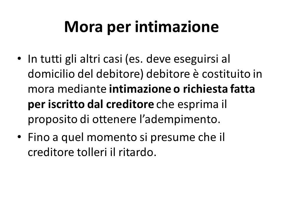 Mora per intimazione In tutti gli altri casi (es. deve eseguirsi al domicilio del debitore) debitore è costituito in mora mediante intimazione o richi