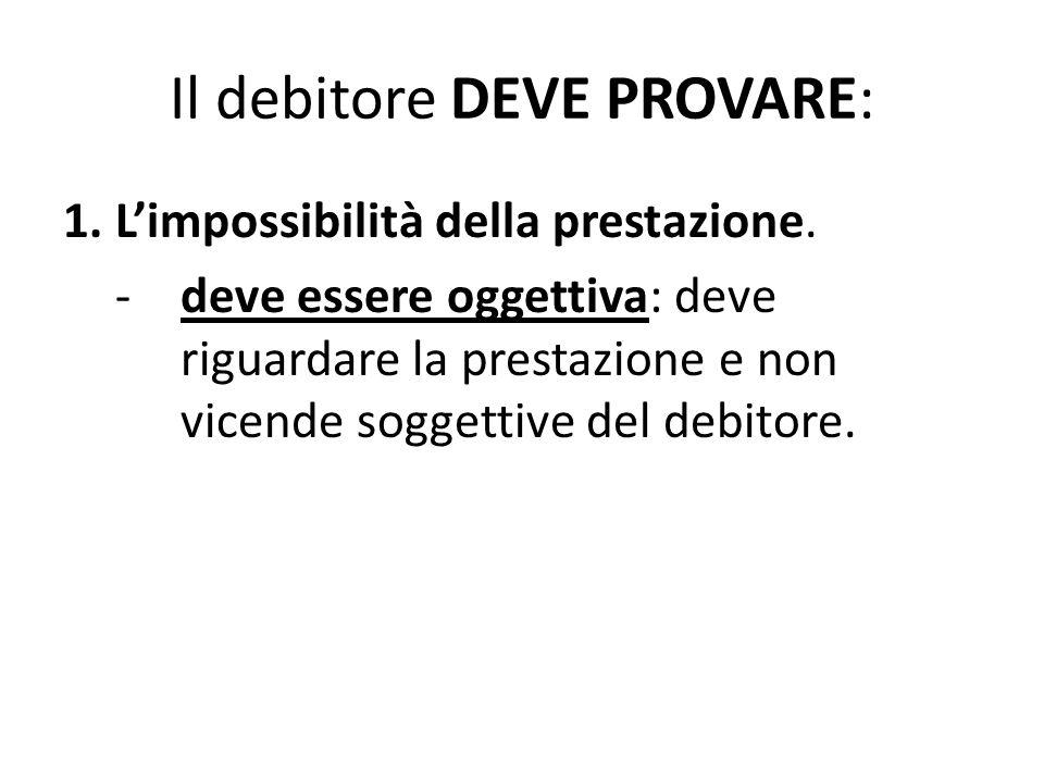 Il debitore DEVE PROVARE: 1. L'impossibilità della prestazione. -deve essere oggettiva: deve riguardare la prestazione e non vicende soggettive del de