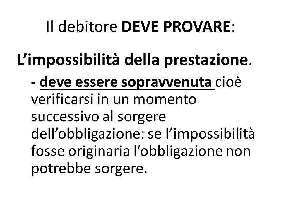 Il debitore DEVE PROVARE: L'impossibilità della prestazione. - deve essere sopravvenuta cioè verificarsi in un momento successivo al sorgere dell'obbl