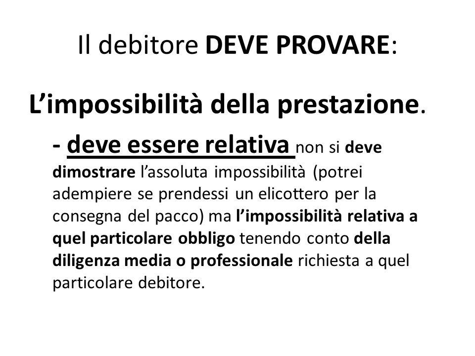 Il debitore DEVE PROVARE: L'impossibilità della prestazione. - deve essere relativa non si deve dimostrare l'assoluta impossibilità (potrei adempiere