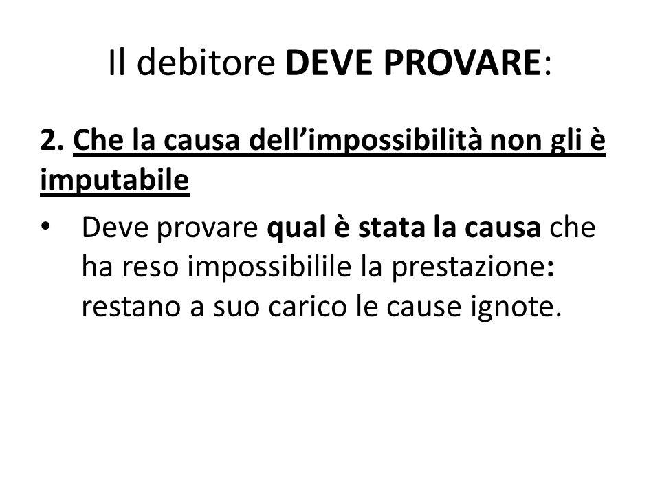 Il debitore DEVE PROVARE: 2. Che la causa dell'impossibilità non gli è imputabile Deve provare qual è stata la causa che ha reso impossibilile la pres