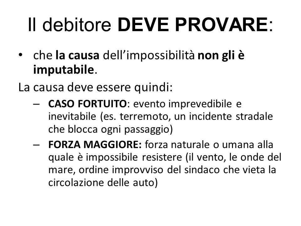Il debitore DEVE PROVARE: che la causa dell'impossibilità non gli è imputabile. La causa deve essere quindi: – CASO FORTUITO: evento imprevedibile e i