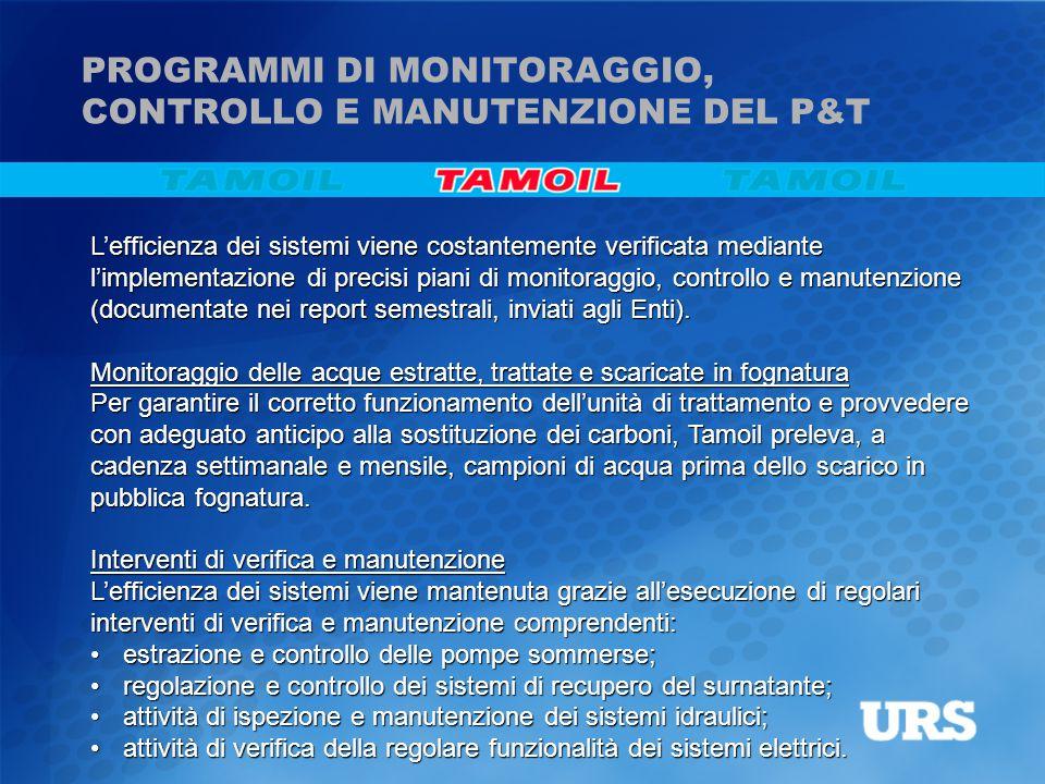 L'efficienza dei sistemi viene costantemente verificata mediante l'implementazione di precisi piani di monitoraggio, controllo e manutenzione (documen