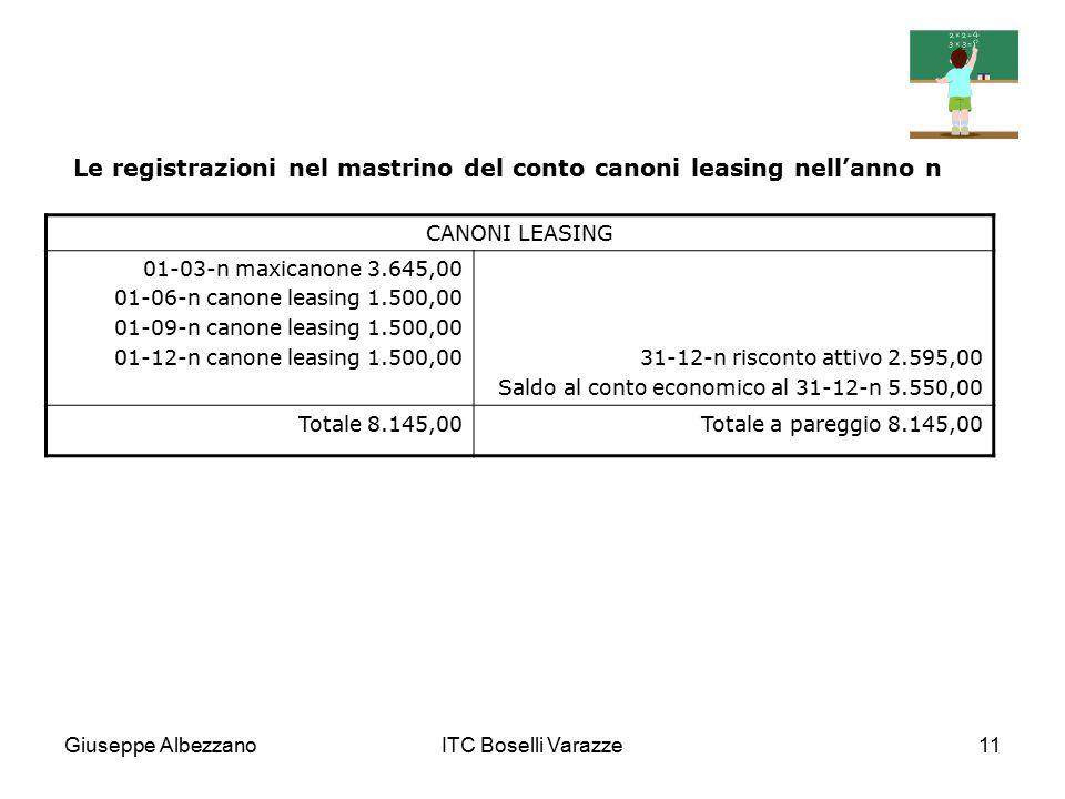 Giuseppe AlbezzanoITC Boselli Varazze11 Le registrazioni nel mastrino del conto canoni leasing nell'anno n CANONI LEASING 01-03-n maxicanone 3.645,00