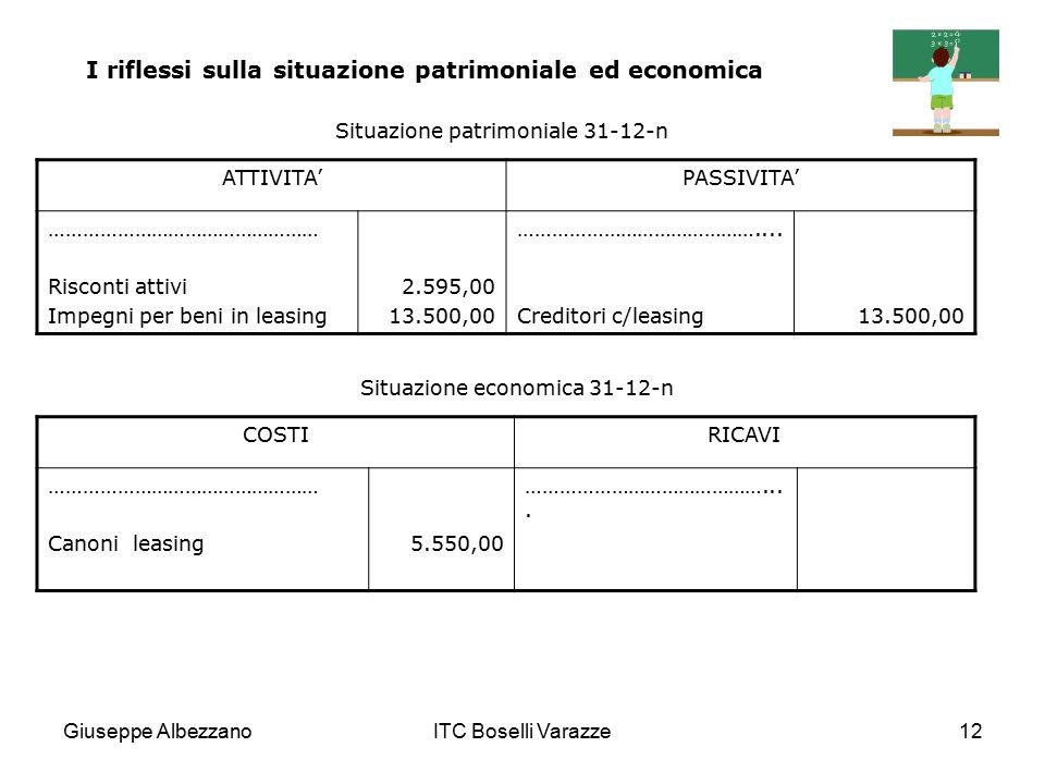 Giuseppe AlbezzanoITC Boselli Varazze12 ATTIVITA'PASSIVITA' ………………………………………… Risconti attivi Impegni per beni in leasing 2.595,00 13.500,00 …………………………