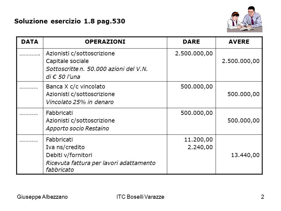 Giuseppe AlbezzanoITC Boselli Varazze2 Soluzione esercizio 1.8 pag.530 DATAOPERAZIONIDAREAVERE ………….Azionisti c/sottoscrizione Capitale sociale Sottos