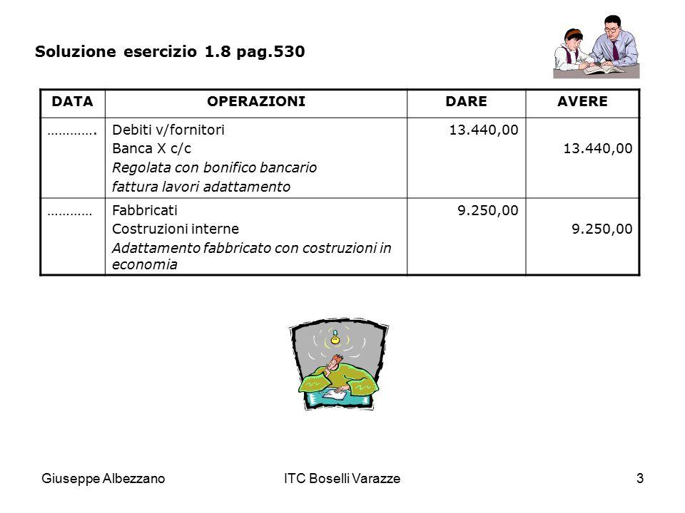 Giuseppe AlbezzanoITC Boselli Varazze3 Soluzione esercizio 1.8 pag.530 DATAOPERAZIONIDAREAVERE ………….Debiti v/fornitori Banca X c/c Regolata con bonifi