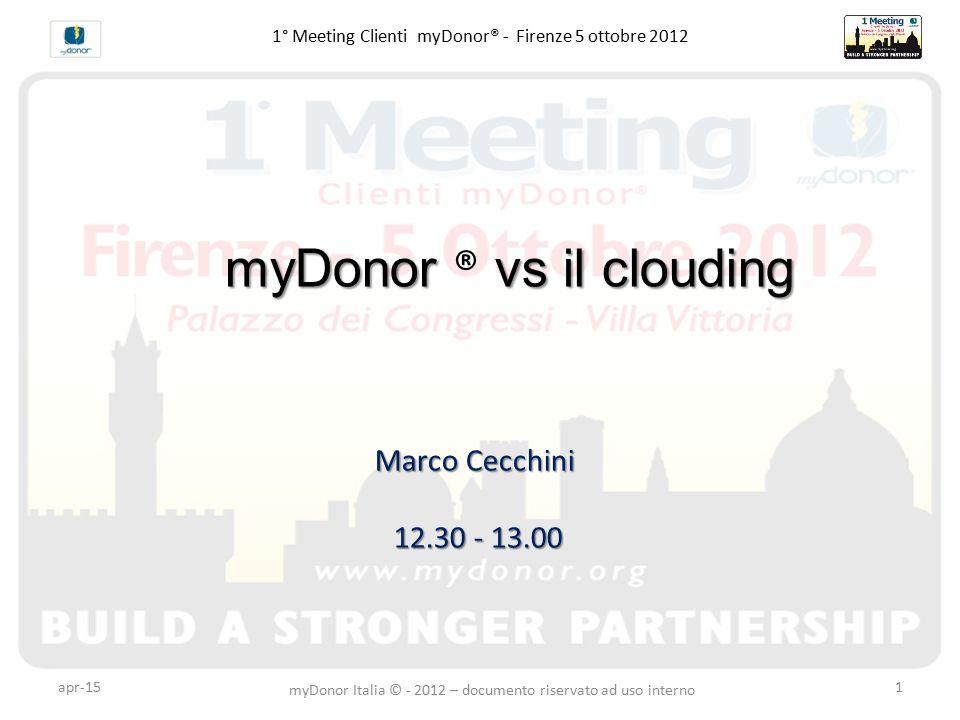 apr-151 1° Meeting Clienti myDonor® - Firenze 5 ottobre 2012 myDonor vs il clouding myDonor ® vs il clouding Marco Cecchini 12.30 - 13.00 myDonor Ital