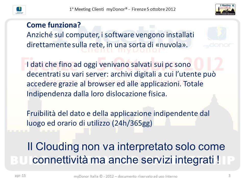 apr-153 1° Meeting Clienti myDonor® - Firenze 5 ottobre 2012 Il Clouding non va interpretato solo come connettività ma anche servizi integrati .