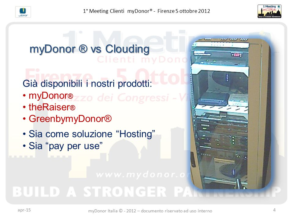 apr-154 1° Meeting Clienti myDonor® - Firenze 5 ottobre 2012 myDonor ® vs Clouding Già disponibili i nostri prodotti: myDonor ® theRaiser ® GreenbymyD