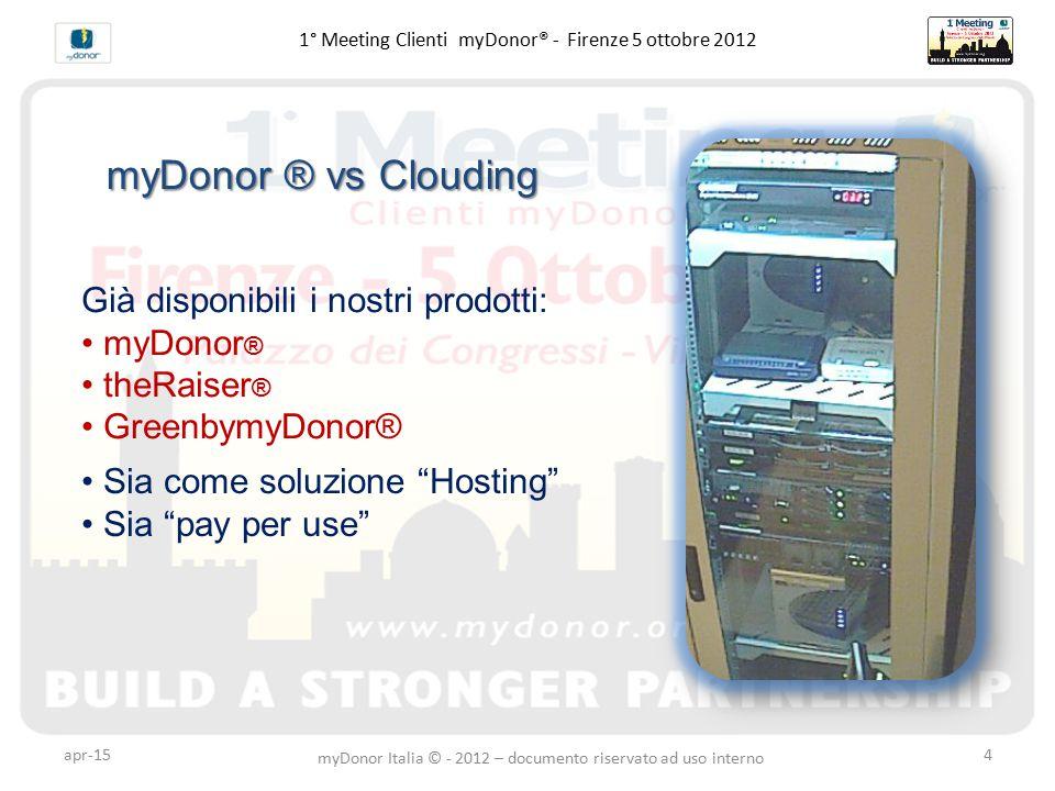 apr-155 1° Meeting Clienti myDonor® - Firenze 5 ottobre 2012 Disponibilità in cloud di una macchina virtuale con installata l'applicazione precedentemente acquistata dal Cliente.