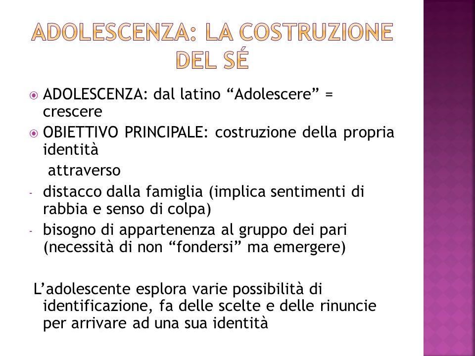 """ ADOLESCENZA: dal latino """"Adolescere"""" = crescere  OBIETTIVO PRINCIPALE: costruzione della propria identità attraverso - distacco dalla famiglia (imp"""