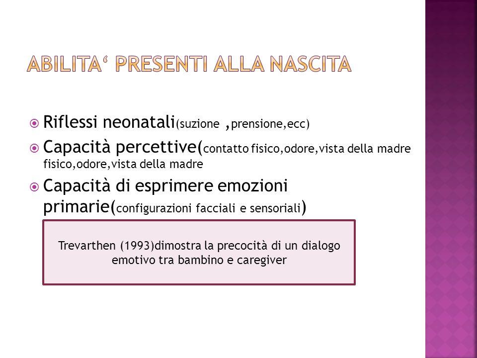  Riflessi neonatali (suzione, prensione,ecc)  Capacità percettive( contatto fisico,odore,vista della madre fisico,odore,vista della madre  Capacità