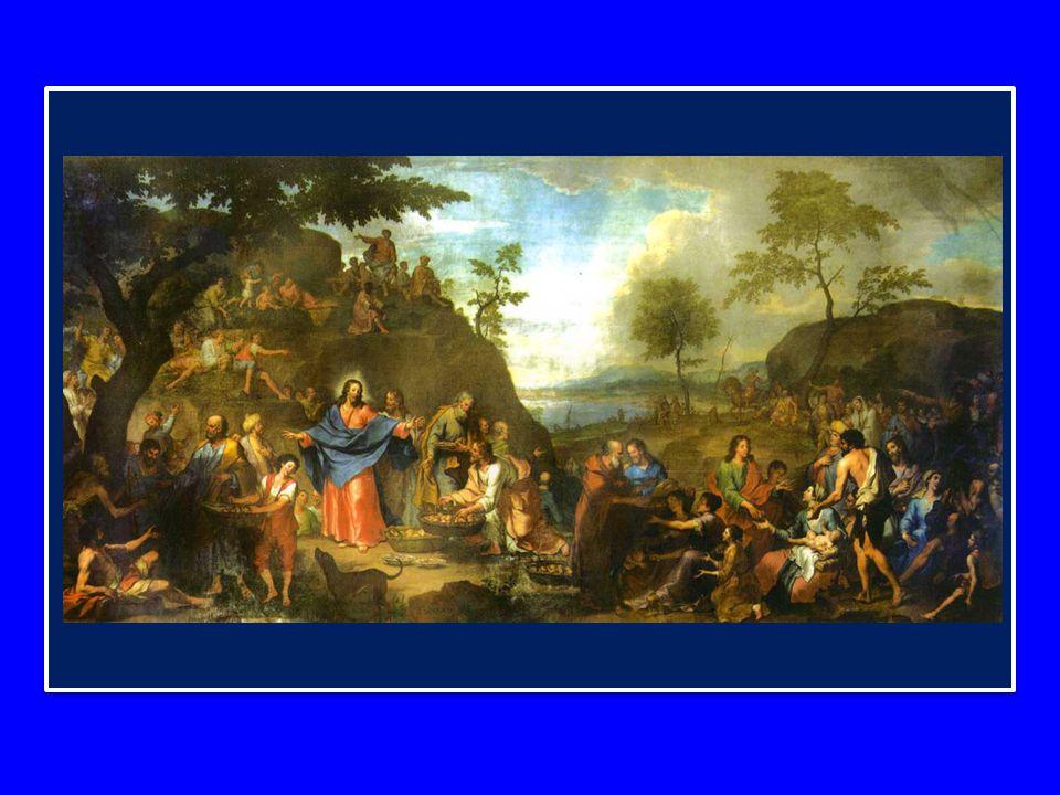 Le azioni compiute da Gesù sono parallele a quelle dell'Ultima Cena: «Prese i pani e, dopo aver reso grazie, li diede a quelli che erano seduti» - così dice il Vangelo (Gv 6,11).