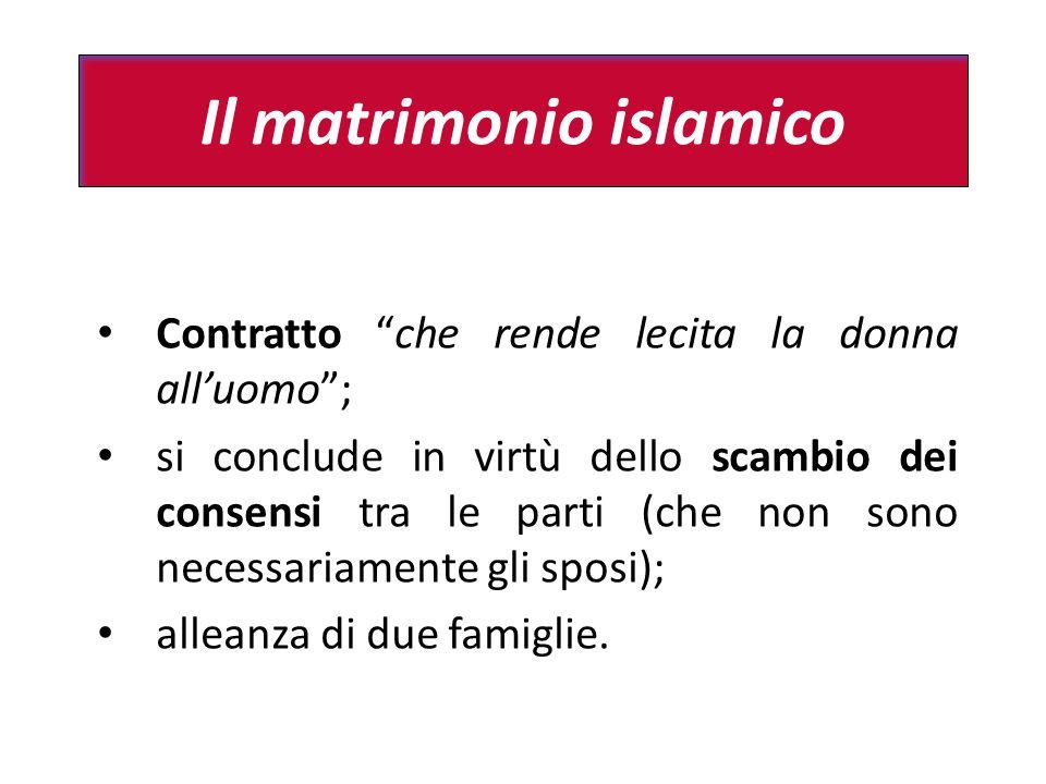 """Il matrimonio islamico Contratto """"che rende lecita la donna all'uomo""""; si conclude in virtù dello scambio dei consensi tra le parti (che non sono nece"""
