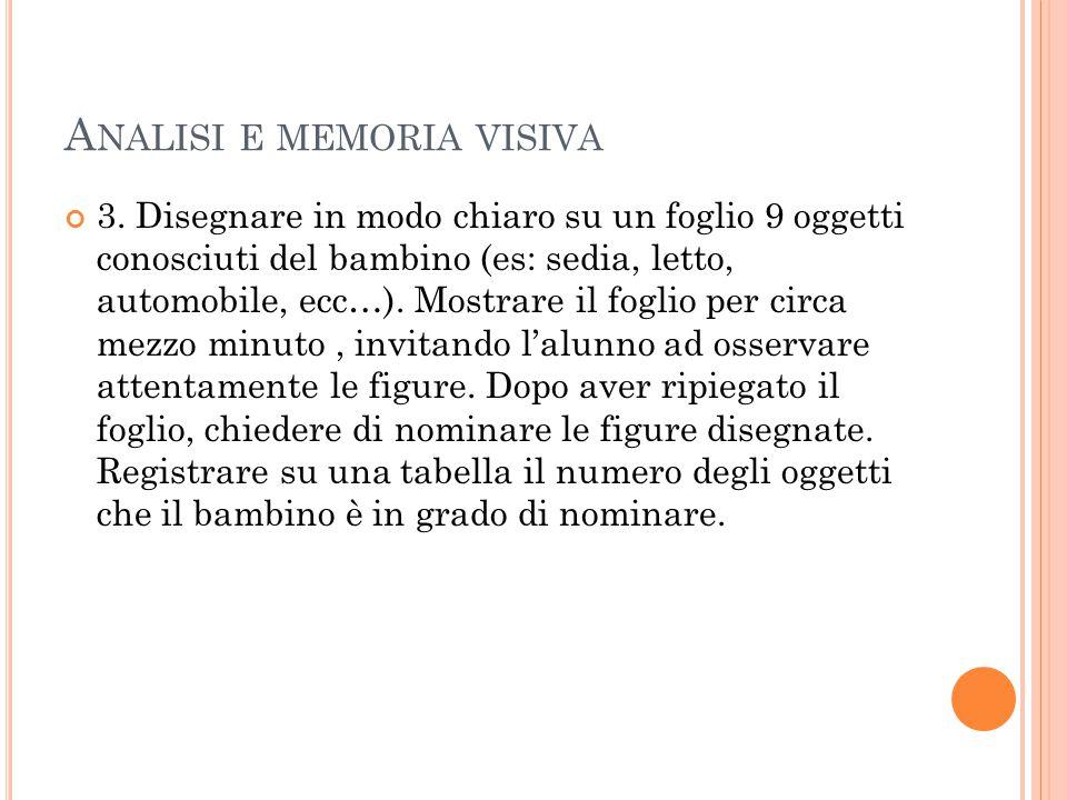A NALISI E MEMORIA VISIVA 3.