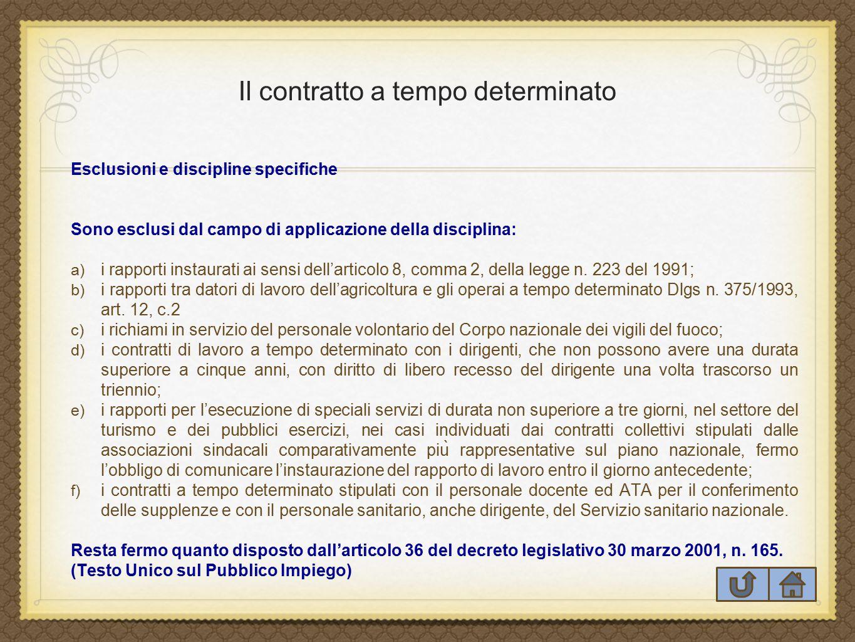 Il contratto a tempo determinato Esclusioni e discipline specifiche Sono esclusi dal campo di applicazione della disciplina: a) i rapporti instaurati