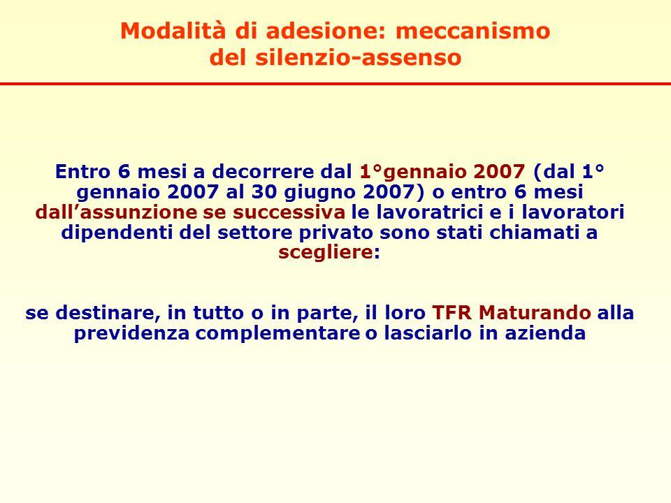 Entro 6 mesi a decorrere dal 1°gennaio 2007 (dal 1° gennaio 2007 al 30 giugno 2007) o entro 6 mesi dall'assunzione se successiva le lavoratrici e i la