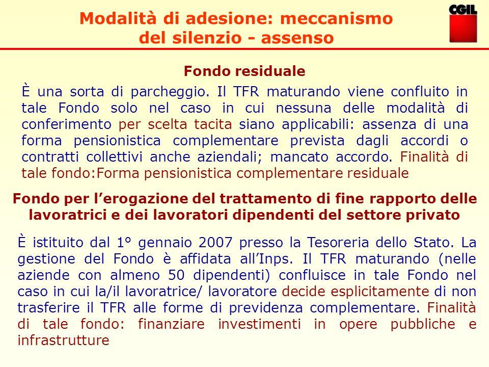 Modalità di adesione: meccanismo del silenzio - assenso Fondo residuale Fondo per l'erogazione del trattamento di fine rapporto delle lavoratrici e dei lavoratori dipendenti del settore privato È una sorta di parcheggio.