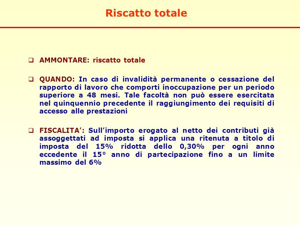Riscatto totale  AMMONTARE: riscatto totale  QUANDO: In caso di invalidità permanente o cessazione del rapporto di lavoro che comporti inoccupazione