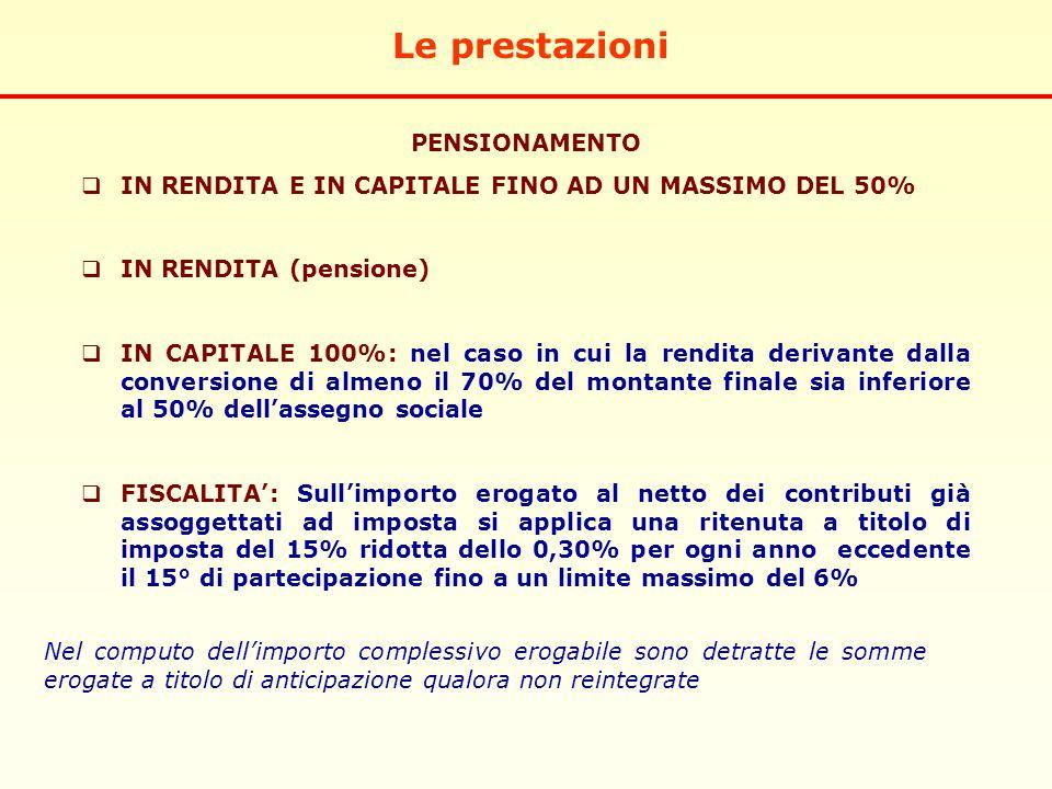 Le prestazioni PENSIONAMENTO  IN RENDITA E IN CAPITALE FINO AD UN MASSIMO DEL 50%  IN RENDITA (pensione)  IN CAPITALE 100%: nel caso in cui la rendita derivante dalla conversione di almeno il 70% del montante finale sia inferiore al 50% dell'assegno sociale  FISCALITA': Sull'importo erogato al netto dei contributi già assoggettati ad imposta si applica una ritenuta a titolo di imposta del 15% ridotta dello 0,30% per ogni anno eccedente il 15° di partecipazione fino a un limite massimo del 6% Nel computo dell'importo complessivo erogabile sono detratte le somme erogate a titolo di anticipazione qualora non reintegrate