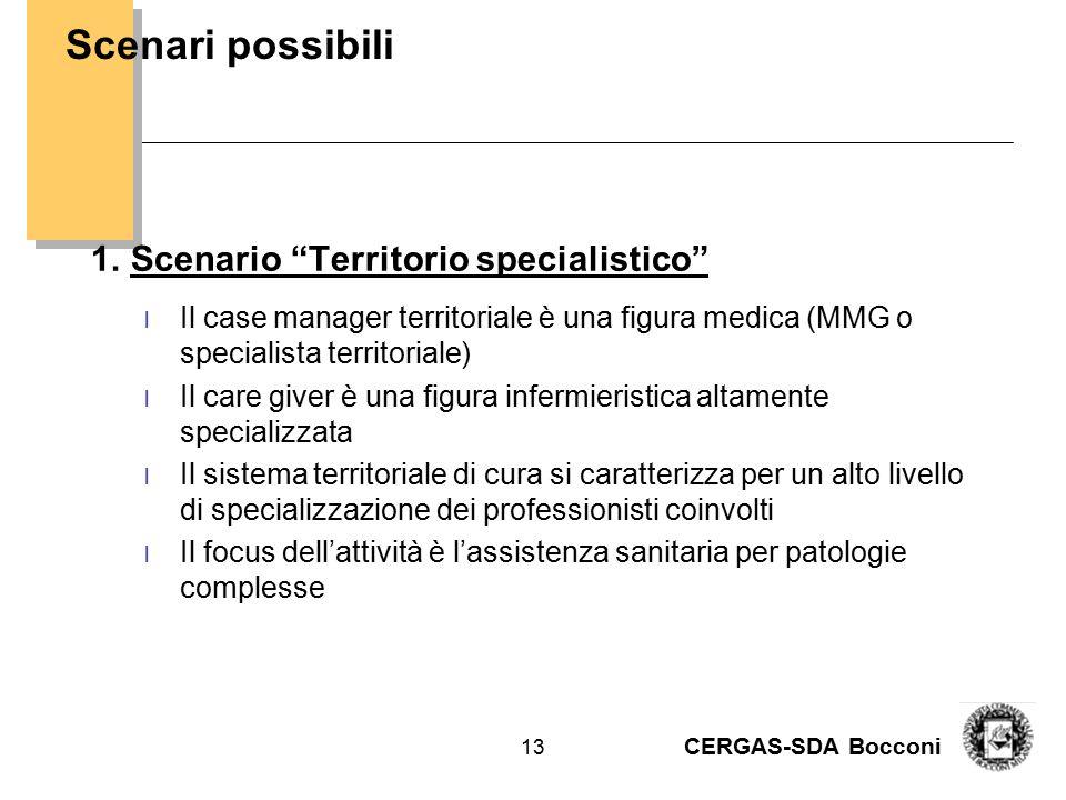 """CERGAS-SDA Bocconi 13 1.Scenario """"Territorio specialistico"""" l Il case manager territoriale è una figura medica (MMG o specialista territoriale) l Il c"""